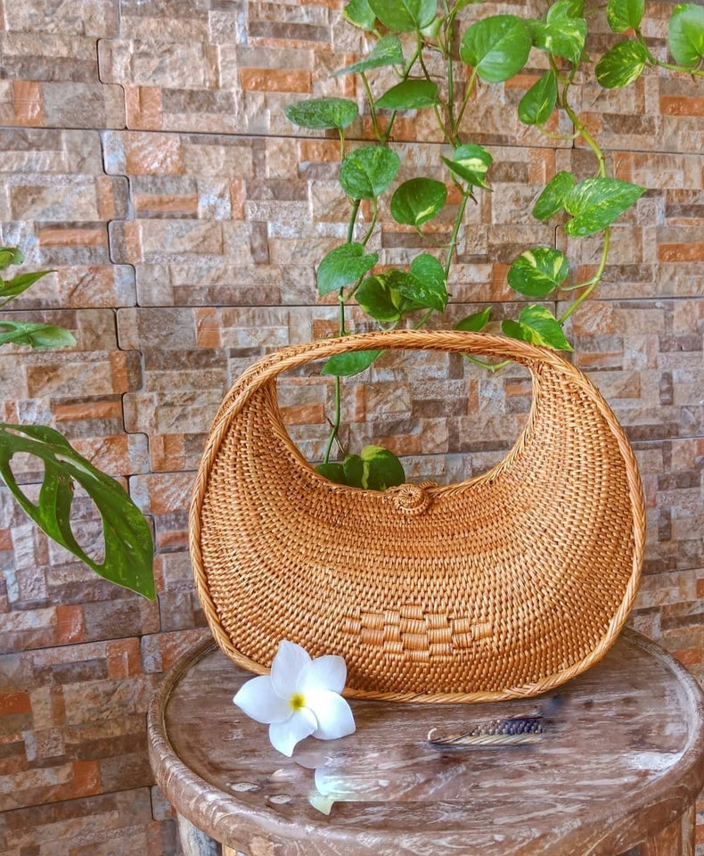 Handwoven Wicker Rattan Crescent Moon Bag