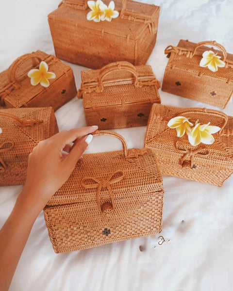 Hand woven square rattan bags