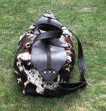Cowhide duffle bag australia  Real Cow Skin Fabric Great For Photoshoot Duffelbag Cow Fur Vintage Brown Black Big Weekender Over night purse Gift For Girlfriend Monogram