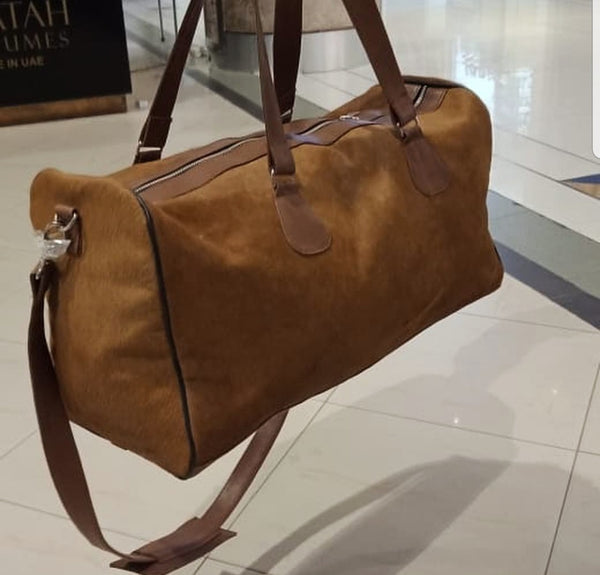Brown Cow hair Luggage Bag