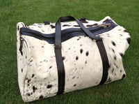 Beautiful Cow Skin Duffle Bag Spotted Black White