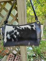Gorgeous Cowhide Saddle Bag In Spotted Black White