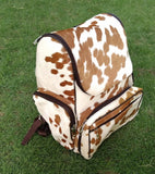 cowhide leather fur diaper bag