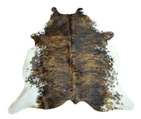 New Cowhide Rugs Speckled Dark TriColor 75 X 80 Inches