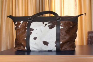 Brown And White Real Cow Hair duffel bag