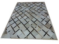 natural patchwork cowhide leather rug