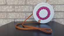 White Pink Round Rattan Bag Circle Ata Bali Straw Vintage Wicker Bags