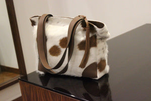 Cowhide Shoulder Bag Brown And White