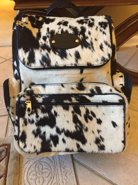 western style black and white cowhide backpack diaper bag