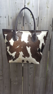 Leather Shoulder Bag Cowhide Fur Handbag Women Shopping Leather Tote Purse