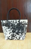 Handmade hair on real cowhide tote bag