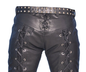 Men's Real Leather Bikers Pants Laces Up Front And Back Leather Pants