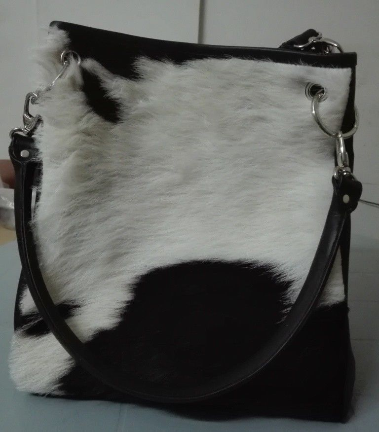 Cowhide Bucket Bag black and white