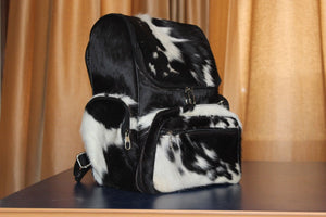 Black And White Cowhide Backpack Hair