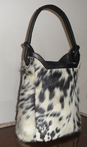 Natural Cowhide Bucket Bag Cow Hide Fur Ladies Leather Shoulder Hobo Purse