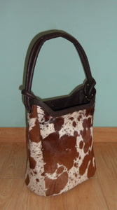 Brown And White Cowhide Bucket Bag