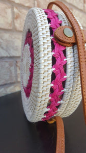 White Pink Round Rattan Bag for summers