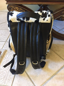 Hair On Hide Back Pack Real Natural Black And White Cowhide