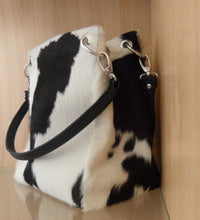 Cowhide Leather Shoulder Bucket Hand Bag Ladies Leather Satchel Tote Purse