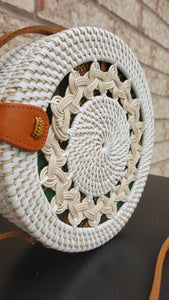 White wicker rattan bag
