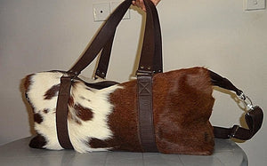 "Genuine Leather Cowhide 22"" Large Capacity Travel Luggage Duffle Gym Bags"