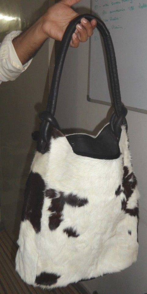 Cowhide Fur Leather Rodeo Bucket Purse Cow Hide Shoulder Hand Bag Hobo Purse