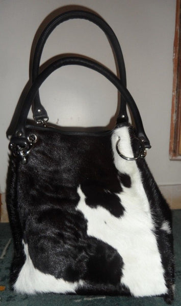 Cowhide fringe purse