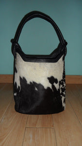 Real Cowhide Handbag Black And White