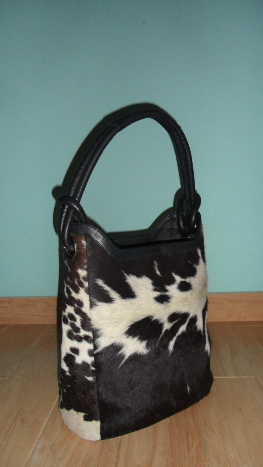 Black And White Cowhide Bucket Bag
