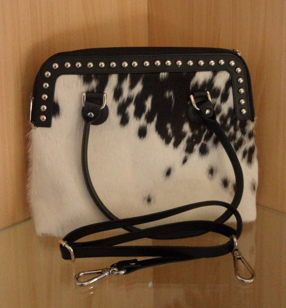 Cowhide Crossbody Bag in black white