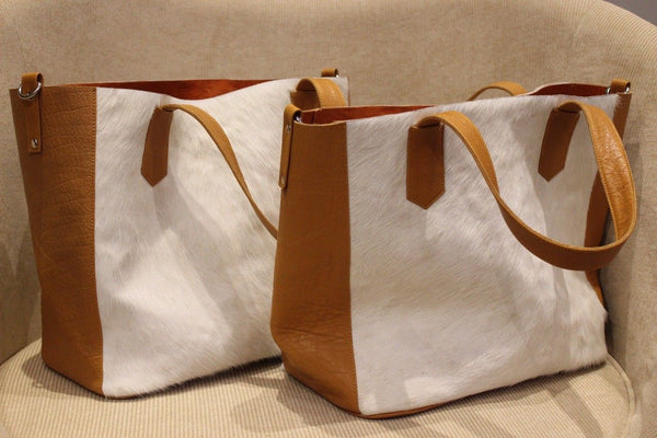 Cowhide Nurse Bag Brown And White