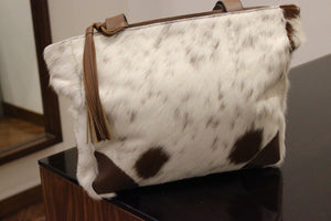 Brown And White Cowhide Messenger Bag