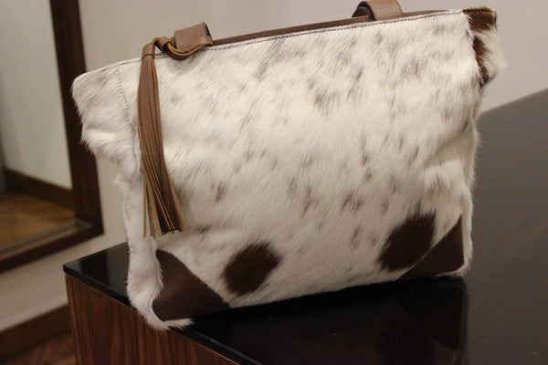 Brown And White Cowhide Messenger postal Bag