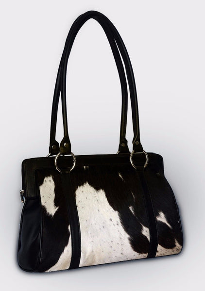 Cowhide Satchel Purse Black White