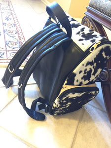Cowhide Travel Backpack Bag Black White