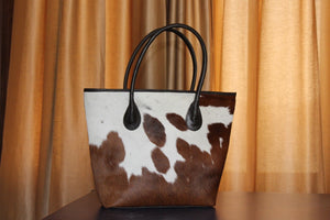 Brown And White Natural Cow Hide Leather Tote Ladies Handbag Women Tote Purse