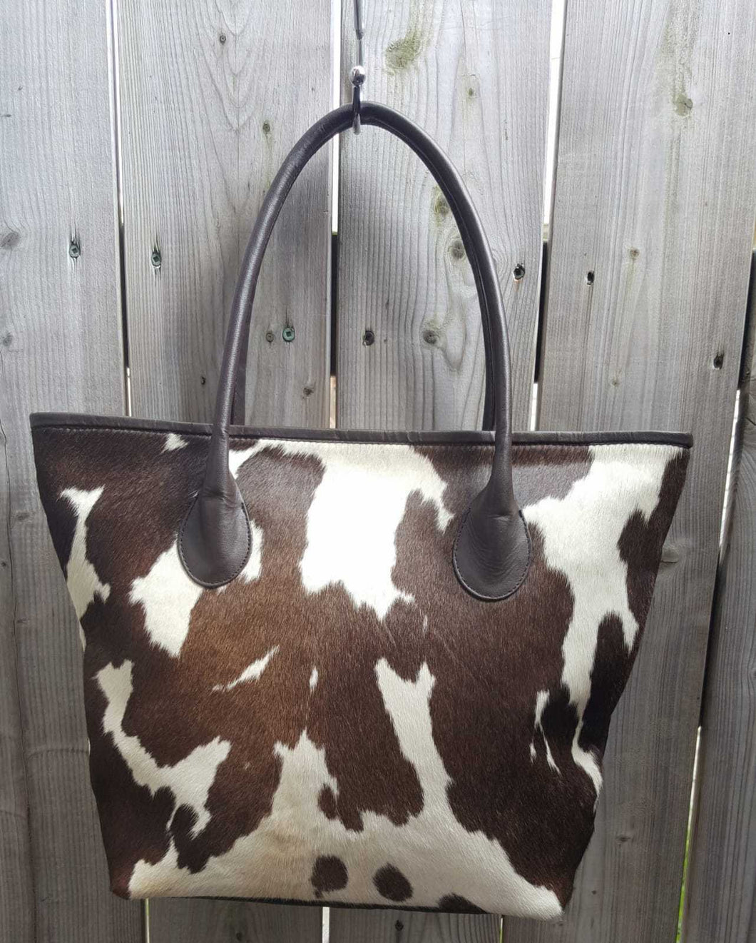 Brown & White Cowhide Tote Bag Women Shoulder Handbag Ladies Leather Tote Purse