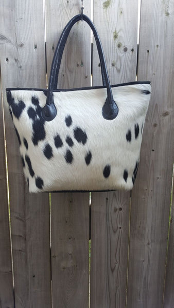 Cowhide Tote Bag Black And White