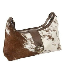 Brown And White Cowhide Fur Purse