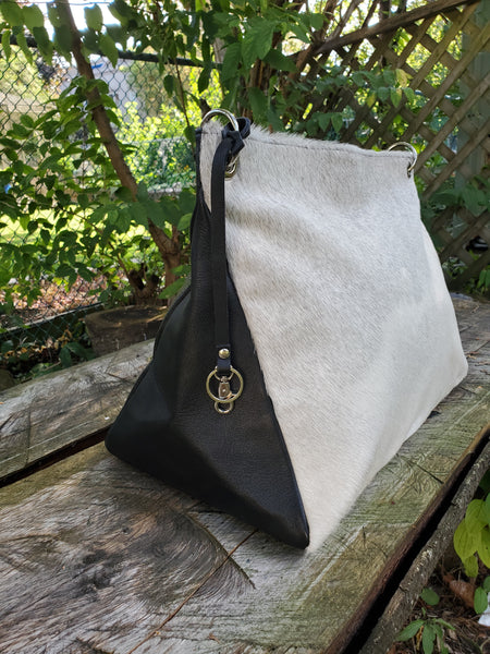 white pony hair bag