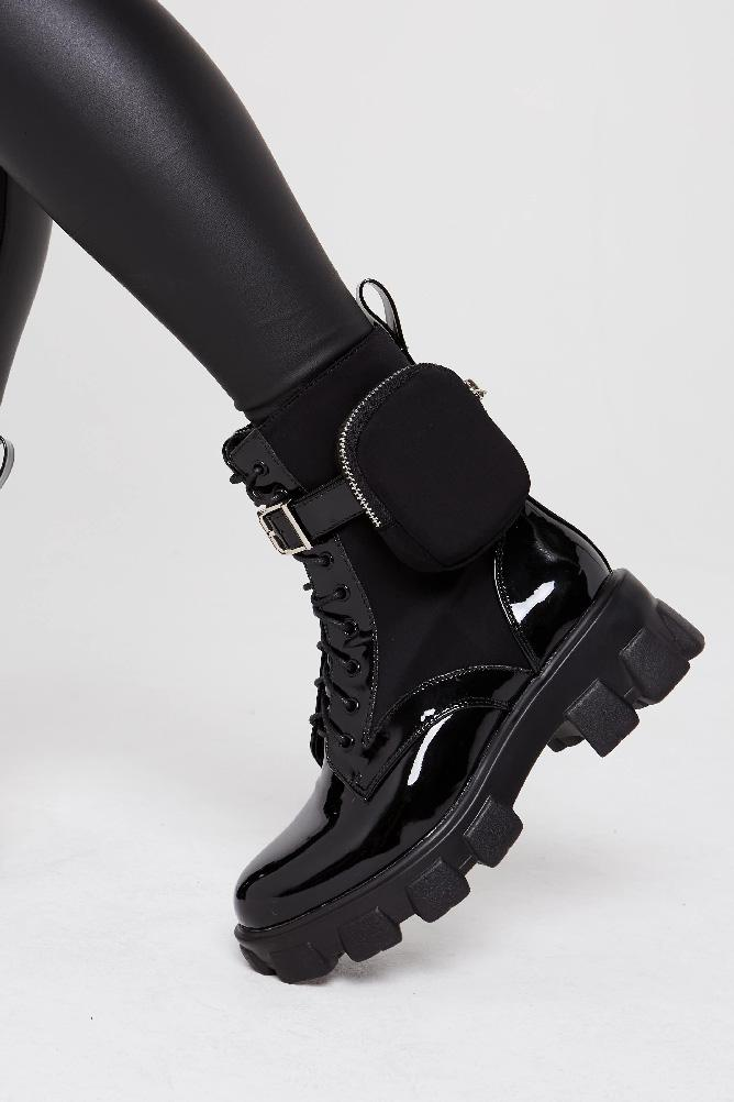 Chunky Sole Black Patent Faux Leather Biker Ankle Lace up Boot