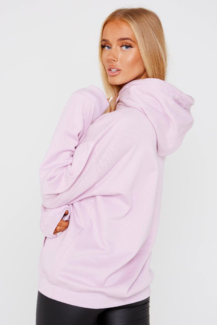 Lilac Butterfly Detail Hooded Sweat Shirt