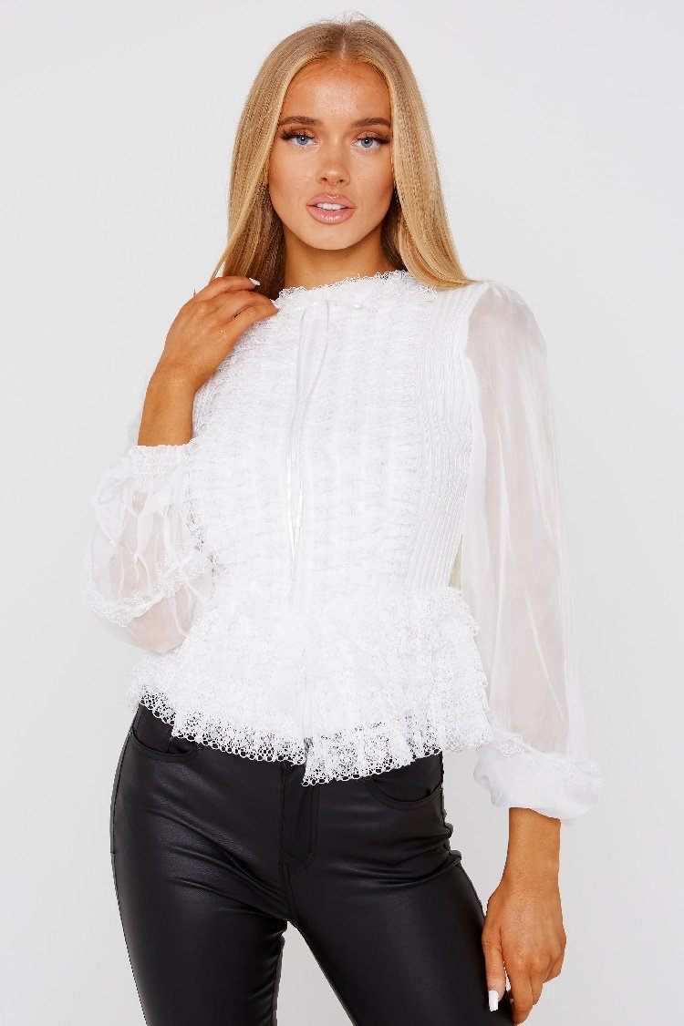 White Chiffon Lace Top