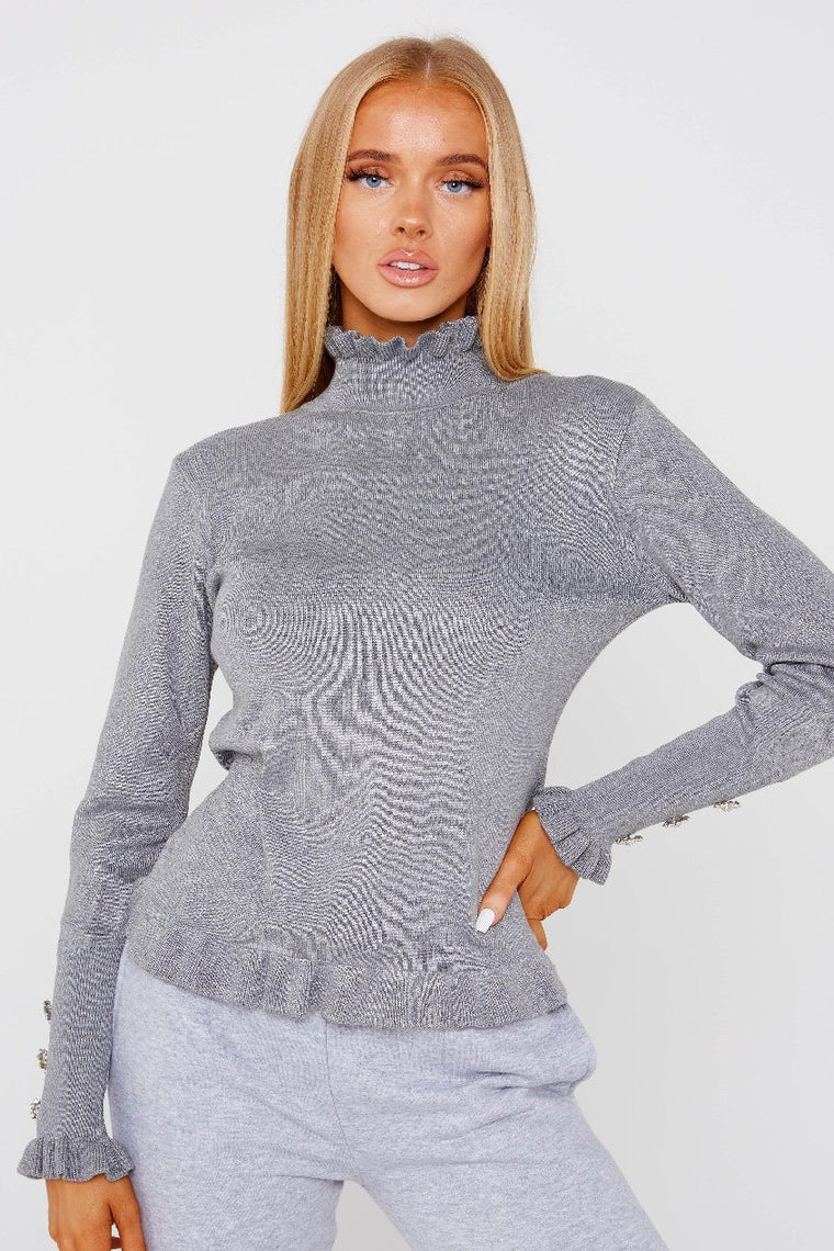 Grey Frill Neck Top