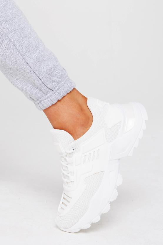 Chunky Sole Trainer In White Faux Leather