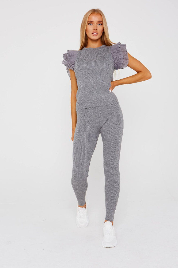 Grey Frill Sleeve Loungewear Set - Amy