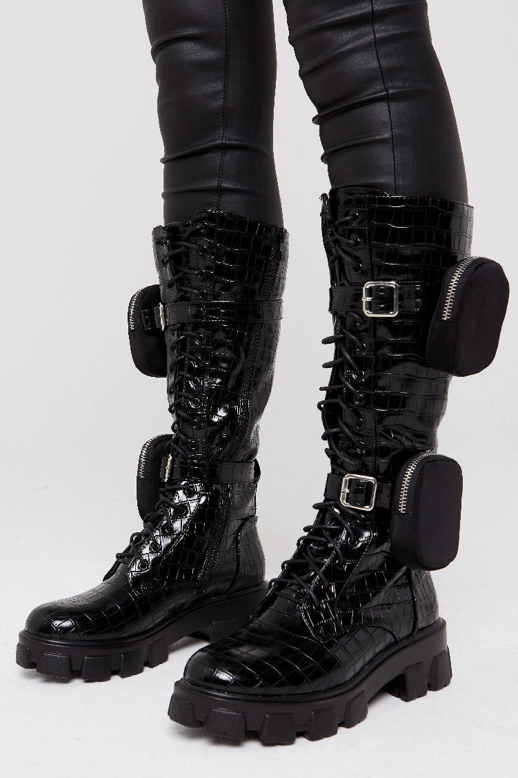 Chunky Sole High Biker Boot In Black Croc with pocket