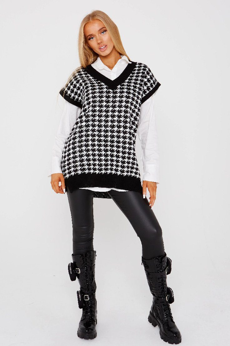 Black&White Long Dogtooth Chunky Knit Tank Top