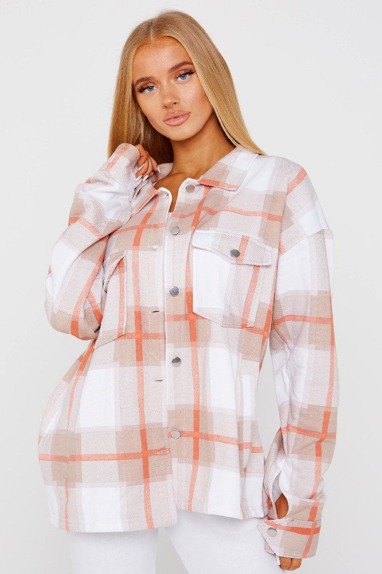 Peach Oversized Checked Shacket