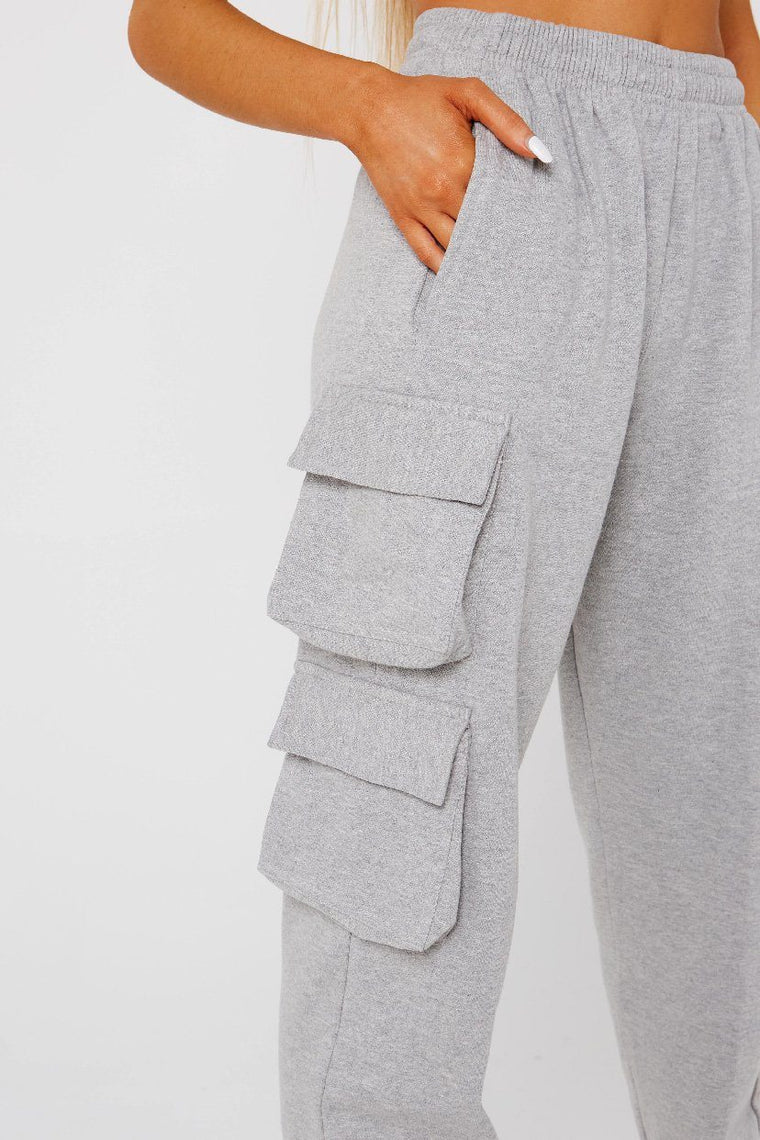 Grey Crop Cargo Pocket Jogger Suit